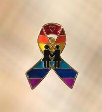 NEW Female Lesbian Rainbow Ribbon LGBT Pride Gay Awareness Pin Brooch 35mm Tall