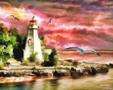 Unframed Canvas Art Print A4 Size High Quality Lighthouse Birds Home Decor