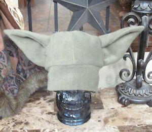 Yoda or Baby Grogu Yoda sage green fleece winter warm ear hat child to adult