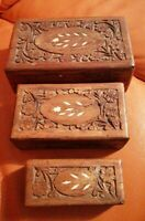 TRIO OF VINTAGE WOODEN TRINKET BOXED HAND CRAFTED WITH SHELL INLAYS  SET OF 3