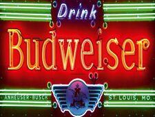 Budweiser Beer Neon Lights Advert Vintage Retro Metal Wall Plaque Art Sign