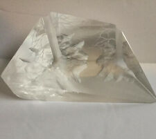 Carved Lucite Small Sculpture Paperweight Trees Forest Signed Dated 2003