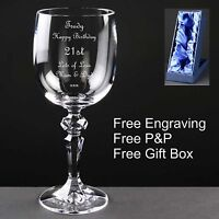 Personalised Wine Glass, Birthday Gift,18th 21st 30th 40th 50th + Satin Gift Box