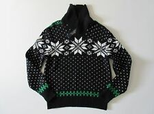 NWT Polo Ralph Lauren Snowflake Shawl-Collar Knit Pullover Sweater M $225