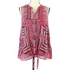 Lucky Brand Top Womens Size 3X Red Blue Bandanna Print Sleeveless Tied Buttons