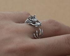 925 Sterling Silver Mens Vintage Carved 3D Dragon Wrap Open Adjustable Ring