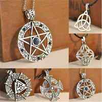 Stylish Pentagram Star Celtic Knot Cross Metal Silver Pendant Choker Necklace TR