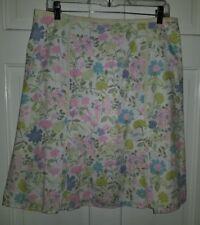 Sigrid Olsen pastel floral blue pink green cotton easter skirt. 10