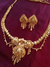 22K Gold Plated Necklace And Earring Set Bollywood Wedding Indian Bridal