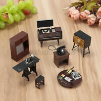 1:12 Dollhouse Mini Furniture Set Vintage Telephone Table TV Sewing Machine