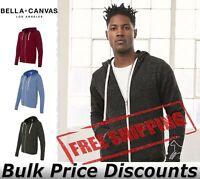 Bella + Canvas Unisex Triblend Sponge Fleece Full-Zip Sweatshirt 3909 up to 2XL
