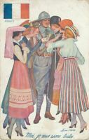 Xavier Sager Signed Postcard of Soldier, Women and French Flag