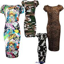 Womens Ladies Camouflage Bang Print Cap Sleeve Bodycon Midi Dress Size UK 8-22