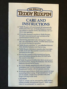 Original Teddy Ruxpin Package Inserts 1986 Instruction Pamphlet 1985