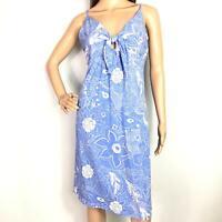 Ladies Indian Summer Tie Dress Size Medium Blue Cotton Tropical Print