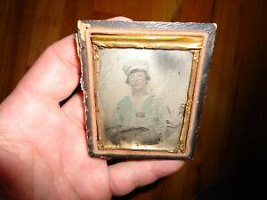 Original Civil War NAVY NAVAL SAILOR Ambrotype Photograph Hand Colored