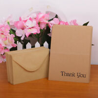 100pcs Wedding Anniversary Party Kraft Brown Paper Thank You Cards Envelope