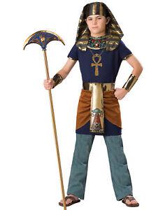 Egyptian Golden Navy Blue Pharaoh Ruler Boys Halloween Costume S(6)