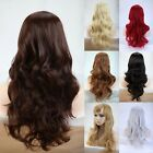 Lady Long Curly Wavy Hair Full head Wig Cosplay Natural Synthetic Wigs with Bang