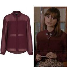 Topshop Cosplay Burgundy Maroon Sheer Panel Chiffon Blouse Shirt - Size 16