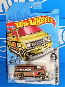 Hot Wheels 2019 Super Chromes #23 Custom '77 Dodge Van Gold w/ 5SPs