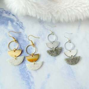 Handmade Polymer Clay Semicircle Dangle Earrings with Surgical Steel Earwire