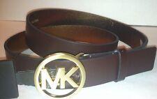 Michael Kors Chocolate Brown Leather Circle MK Logo Sm. Gold Buckle Belt Sz S, L