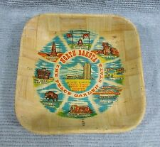 Old 1980's North Dakota Peace Garden State Bamboo 3x11 Square Bowl FREE S/H