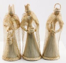 3 Straw Kings Christmas Ornament Holiday Decoration Figurine Artisan Made
