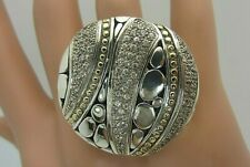 John Hardy 18K Gold Sterling Silver Ring Kali White Sapphire Pave large