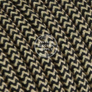 Beige & Black Cotton (UL) Cloth Covered Electrical Wire - Braided Fabric Wire