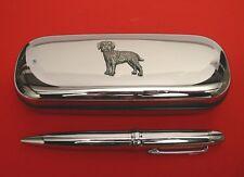 Border Terrier Motif On Chrome Pen Box + Ball Point Pen Mum Dad Stationary Gift