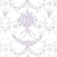 """COTTON SATIN WEAVE PRINT FABRIC BEDDING ANTIQUE FLORAL DAMASK PURPLE 44"""" BY YARD"""