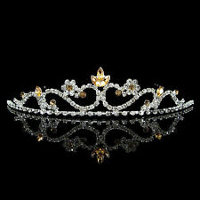 3cm High Wedding Prom Bride Bridemaid Golden Crystal Tiara - Silver Plated