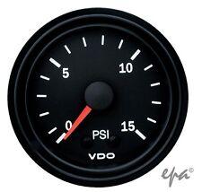 VDO BOOST GAUGE BLACK 0 - 15PSI 52MM TURBO DIESEL LANDCRUISER PATROL GQ GU 4WD