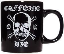 SOURPUSS BLACK CAFFEINE OR DIE MUG COFFEE CUP BREW PUNK SKULL SKULL CROSSBONES