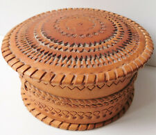 Plaited and tooled leather trinket box Mens jewellery case for cufflinks watches