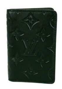 LOUIS VUITTON NIB Black Monogram SHADOW Embossed POCKET ORGANIZER Wallet
