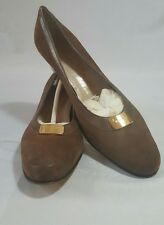 SALVATORE FERRAGAMO Boutique Italy Suede Pumps Shoes Heels Vintage Womens  9AAA