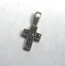 "Judith Jack Designer 5/8"" Sterling Silver Marcasite Tiny Cross Pendant"