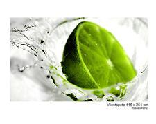 Vlies Tapete Wandbild XXL Splash Lime Limette Grün Cocktail Natur Obst Wasser