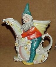 rare vintage Schafer & Vater ? figural Gnome Wood Elf Pitcher unmarked Germany