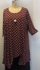 Coco & Juan Lagenlook Plus Size Top Red Black Print Asymmetric Top 3X4X B60""