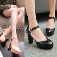 New Womens Block High Heels Shoes Ankle Strap Platform Round Toe Pumps Plus Size