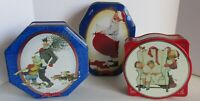3 Snickers Norman Rockwell Canister Tin Limited Edition Christmas Blue Red Vtg.
