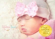 INFANTEENIE BEENIE, baby girl newborn hospital hat with ruffled pink bow