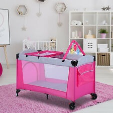 HOMCOM Portable Baby Bed Travel Cot Playpen Diaper Change Bassinet Toy Toddler