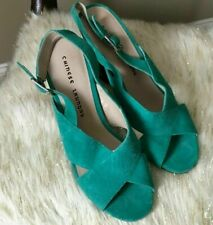 NWOT CHINESE LAUNDRY SUEDE TURQUOISE HIGH HEEL SANDALS WOMENS SIZE 10 4 IN HEEL