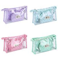 3pcs Makeup Bag Set Cute Waterproof Portable PVC Pouch Travel Toiletry Bag