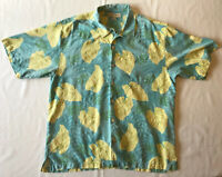 Tommy Bahama Hawaiian Shirt Mens XL 100% Silk Blue Floral Button Down Camp EUC